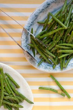 Piccata-Stlye Green Beans Recipe - Saveur.com - Inspired by the briny flavors of veal piccata, this elegantly side dish is simplicity itself: blanched green beans tossed in a vinaigrette of capers, bright lemon, and a beautiful olive oil.