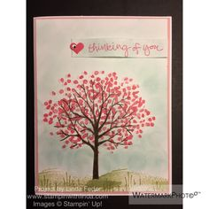 Thinking of You Card Using Stampin' Up! Sheltering Tree Stamp Set/ www.stampinwithlinda.com