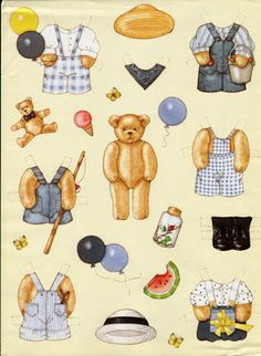 Bear paperdoll, inkspired musings: Summer's End Paper Toys, Paper Crafts, Teddy Bear Crafts, Paper Dolls Printable, Bear Doll, Vintage Paper Dolls, Doll Accessories, Doll Toys, Paper Cutting