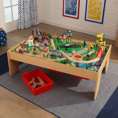 KidKraft Waterfall Mountain Train Set & Table with 120 Accessories Included - Walmart.com - Walmart.com Train Set Table, Brio Train Set, Wooden Train, Montessori Toys, Train Tracks, Classic Toys, Storage Bins, Gifts For Kids, Playroom