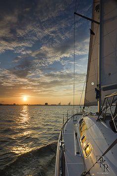 sailing sunset beneteau 49 on the Charleston harbor Sunset Sail