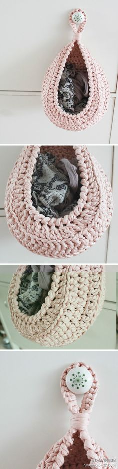 "Cute idea for storing small items. Found pattern. Norwegian site but seems pretty simple. See Pin in ""Crochet For The Home"" board"