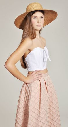 The Samuji Salmon Skirt with the Rachel Antonoff Poodle White Stacy Top.