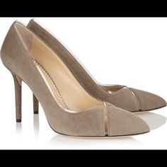 Charlotte Olympia Suede  pumps size 38 almond toe Charlotte Olympia Natalie Suede Crisscross pumps size 38 New $655 almond toe  Charlotte olympia has created a collection of chic '9 till 5' heels, designed to take the effort out of office dressing. This sleek taupe suede pair has been made entirely by hand in italy and is detailed with pvc inserts for a fresh and modern look. Heel measures approximately 95mm/ 4 inches. Taupe suede. Slip on. charlotte olympia Shoes Heels