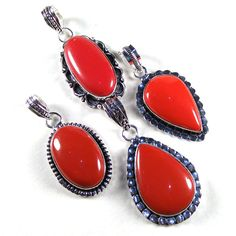 Wholesale Lot 20 Pcs Red Coral Gemstone 925 Silver Plated Gift Pendants Jewelry #Unbranded #Pendant