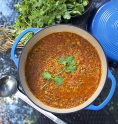 Moroccan Lentil Soup - healthy, beautifully-spiced soup of lentils, chickpeas, vegetables and herbs.