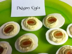 Lord of the rings party food - dragon eyeballs!! But I think I will leave out the yucky center and fill with orange food coloring for the eye part.
