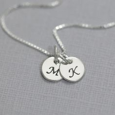 Double Initial Necklace Double Initial Charm on Sterling Silver Chain, Gift for Her, Gift for Mom, Girlfriend Gift, Sterling Silver Necklace