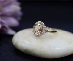Solid 14K Yellow Gold Ring Engagement Ring 7x9mm Oval by NidaRings