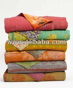 100% baumwolle kantha arbeit jaipur indian verbindlich handgemachte quilts reversibler recycelt saree vintage/decken