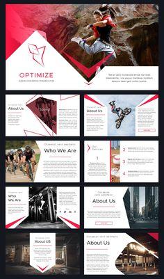 Optimize Modern Powerpoint Template by Reshapely on Magazine Ideas, Magazine Design, Book Design, Layout Design, Powerpoint Design Templates, Presentation Layout, Presentation Templates, Leaflet Design, Slide Design