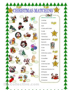 Christmas matching with Disney characters - English ESL Worksheets for distance learning and physical classrooms Christmas Board Games, Christmas Party Games, Disney Christmas, Christmas Activities, Christmas Carol, Simple Christmas, Fun Activities, Holiday Fun, Christmas Holidays