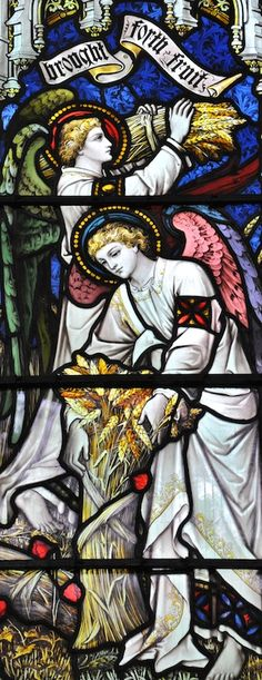 Working Angels. Beautiful stained glass window in All Saints Church, Holbeach in the South Holland part of Lincolnshire.