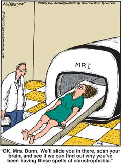 MRI claustrophobia humor… not so funny :[ Mri Humor, Radiology Humor, Funny Cartoons, Funny Jokes, Hilarious, Nerd Jokes, Cartoon Jokes, Jokes Quotes, Political Cartoons