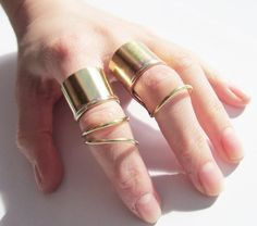 Double Chunky Above Knuckle Ring Gold Brass by AmeliaMaysjewelery, $24.00