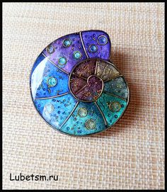Polymer clay faux enamel brooch by Lubets.