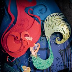 Beautiful multilayer illustration of The Little Mermaid made of paper by Brittney Lee