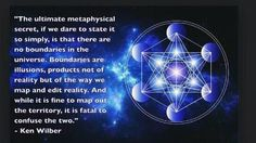 """Ken Wilber: """"The ultimate metaphysical secret, if we dare to state it so simply, is that there are no boundaries in the Universe. Boundaries are illusions, products not of reality but of the way we map and edit reality. And while it is fine to map out the Spiritual Enlightenment, Spiritual Wisdom, Quantum Consciousness, Consciousness Quotes, Universal Consciousness, Higher Consciousness, Ken Wilber, Cool Science Facts, Everything Is Energy"""