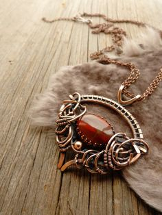 Red jasper pendant wire copper jewelry by UrsulaJewelry on Etsy