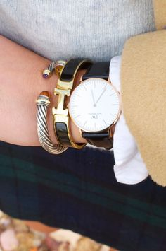 Daniel Wellington watch paired with David Yurman & Hermès bracelets.