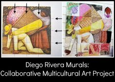 Diego Rivera Collaborative Multicultural Art Project for ArtVenture Collaborative Art Projects For Kids, Collaborative Mural, Diego Rivera Art, Diego Rivera Frida Kahlo, Spanish Art, Spanish Class, Spanish Lessons, Hispanic Heritage Month, Art Classroom