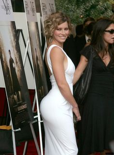 Jessica Biel booty in a white dress