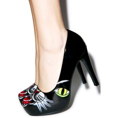 Iron Fist Black Cat Platform Heels ($48) ❤ liked on Polyvore featuring shoes, pumps, iron fist shoes, high heel pumps, iron fist pumps, vegan leather shoes and platform pumps