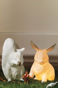 These might be for kid rooms, but I'd love to have the rabbit lamp.