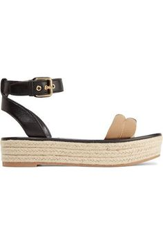 BURBERRY Leather and checked canvas espadrille sandals. #burberry #shoes #espadrilles