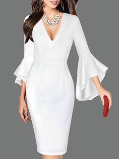 Buy Prom Dresses For Women at JustFashionNow. Online Shopping JustFashionNow Plus Size V neck Women Prom Dress Sheath Daily Dress Balloon Sleeve Cotton Paneled Solid Dress, The Best Holiday Prom Dresses. Discover unique designers fashion at JustFashionNow Elegant Dresses, Vintage Dresses, Beautiful Dresses, Evening Dresses, Prom Dresses, Formal Dresses, Ladies Dresses, Long Dresses, Daily Dress