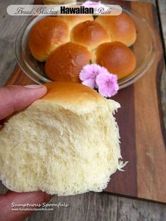 You should create this Bread Machine Hawaiian Rolls . B'coz it's ultra Delightful. ~ Just click the pin to see futher ~ Bread Recipes For Bread Machine Artisan Bread Recipes, Bread Maker Recipes, Easy Bread Recipes, Pudding Recipes, Cooking Recipes, Healthy Recipes, Cooking Tips, Quick Bread, Bread Machine Rolls