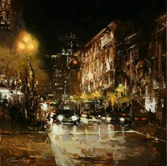 By Hsin-Yao Tseng.     It's not often I encounter artwork that really affects my emotions, but here are some. I am going to aim to bring some of this sense of atmosphere into my paintings. The rain, the lights, the hum of the city. You're safe and warm inside the cab.You can hear the windscreen wipers as the cab takes you to the bar where you will meet your date for the first time.