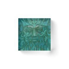 """Green Man, pastel painting, fantasy art, green shades"" Acrylic Blocks by clipsocallipso | Redbubble"