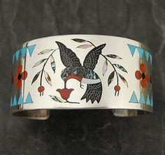 Dennis Edaakie Silver Turquoise Hummingbird Bracelet