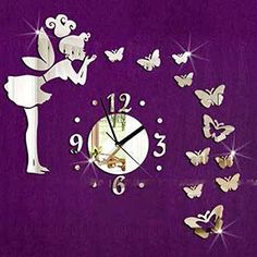 Home Decoration Butterfly Fairy Clock DIY 3D Art Mirror Wall Sticker Kids  Room Home Decor Living