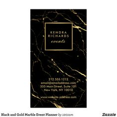 Black and Gold Marble Event Planner Business Card