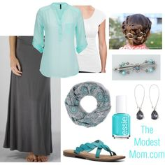 Sea Mist - The Modest Mom by deborah-and-co on Polyvore featuring maurices, Hush, Essie, Monday and INC International Concepts