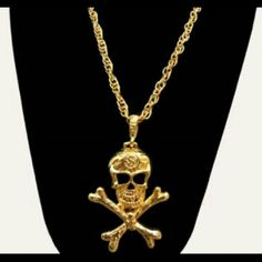 24' Skull & Bones Necklace New 24' Gold plated Rima Imar  Jewelry Necklaces