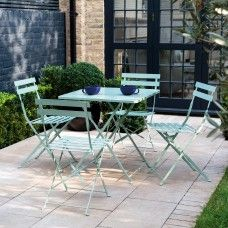 Perfect for smaller outdoor spaces, the Parc 4 seat sage green metal folding garden table and chairs set is made from powder-coated steel. Buy now at Habitat UK. Small Garden Table, Small Table And Chairs, Outdoor Tables And Chairs, Garden Table And Chairs, Metal Garden Furniture, Outdoor Furniture Sets, Outdoor Decor, Furniture Ideas, Small Courtyard Gardens