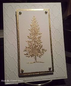 Gold Tree by - Cards and Paper Crafts at Splitcoaststampers - Geprägte karten Homemade Christmas Cards, Christmas Cards To Make, Vintage Christmas Cards, Xmas Cards, Vintage Cards, Homemade Cards, Holiday Cards, Embossed Christmas Cards, Origami Christmas