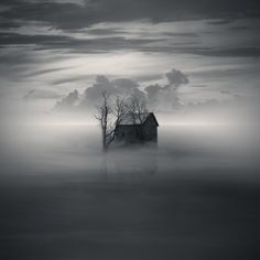 """An old abandoned house sat surrounded by a dense foggy mist. It made them wonder what secrets the old house held. """"If only it could talk."""" She said to him quietly. """"I can."""" """"Did you hear that?"""" He asked her, hoping it was just his imagination."""