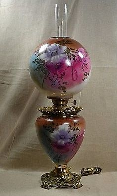 ANTIQUE-PITTSBURGH-29-GWTW-PARLOR-LAMP-W-SUCCESS-BURNER-HP-POPPIES-ELECTRIFIED