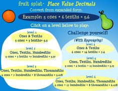 Learn place value decimal expanded form with this fun arcade math game. Place Value With Decimals, Expanded Form, Integers, Place Values, Math Games, Learning, Places, Studying, Teaching