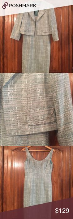 """Antonio Melani Tweed Jacket & Dress Ensemble EUC PLEASE READ DESCRIPTION the Jacket is a size 6 & the dress is a size 4.  . The Jacket has chains on the Faux pockets and it has no closures. It measures approximately 18""""flat underarm to underarm and measures approximately 18""""long measured from shoulder to hem and the sleeves are 3/4. The dreshas a hidden back zipper and measures approximately 16"""" flat underarm to underarm and measures approximately 14""""flat at the waist hips are 15"""" flat and…"""