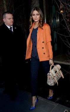 Orange Blazer + Blue Shoes + Olivia Palermo.