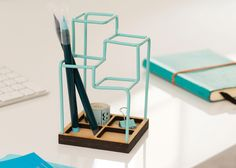 Sketch Desk Tidy by Block is a pen holder/desk caddy. http://design-milk.com/3d-desk-organizer-looks-like-sketch/