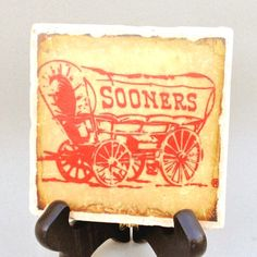 $10.99 University of Oklahoma Handmade Coasters, Tile Coaster (Dad gift, groomsmen gift, football, birthday, tailgate) by CampusCoasters on Etsy