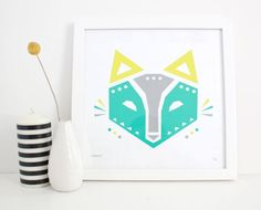 Geometric Fox Print Screenprint Woodland Modern by sassandperil, $26.00