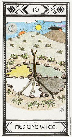 X. The Wheel of Fortune (Medicine Wheel) - Native American Tarot by Magda Weck Gonzales