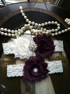 4ec58e3df80 Ivory and Plum wedding garter set